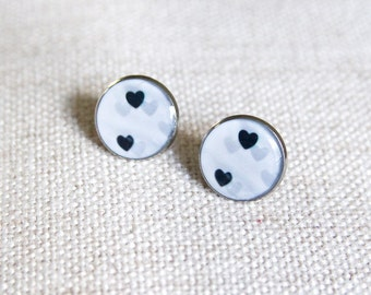 Heart stud earrings in black and white. Valentine's day gft for her. Statement earrings. Resin photo jewelry