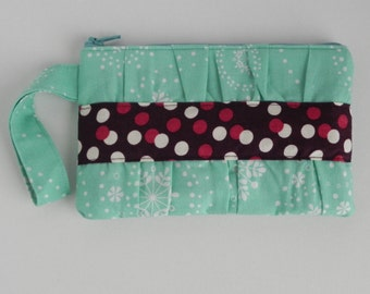 Teal and Cranberry Gathered Clutch (with wrist strap)