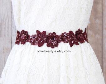 Wine Beaded Flower Lace Wedding Sash, Bridal Sash, Bridesmaid Sash, Flower Girl Sash,Wine Lace Sash Belt,Burgundy Lace Sash Belt