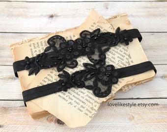Black Beaded Lace Wedding Garter Set, Black Flower  Lace Garter Set, Toss Garter , Keepsake Garter / GT-21