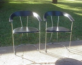 Set of 2 ARRBEN Italy Black Leather & Chrome Arm Chairs 1970s/80s RARE! Mid Century Modern