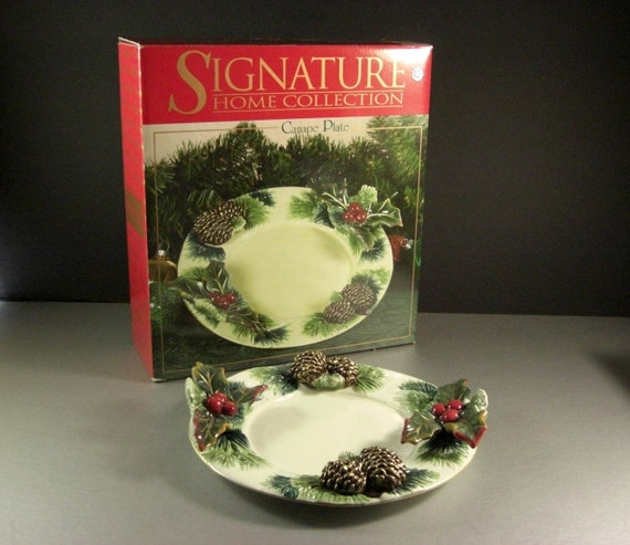Porcelain christmas day canape plate dish appetizer tray for Christmas canape plates