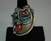 Exquisite Rare Navajo Jerry Roan Vintage Navajo Turquoise Fire Agate Coral Sterling Silver Ring 26 Grams