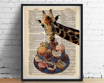 GIRAFFE Loves Cupcakes Cake Animal Art Print Poster Funny Illustration Vintage Antique Dictionary Book Page GIclee 5x7 8x10 A3 +More Sizes