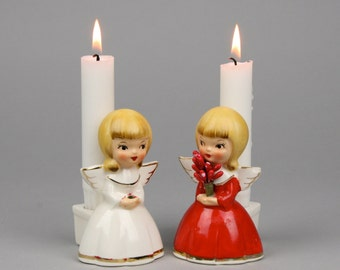 Authentic Vintage Holt Howard Christmas Angels Candleholders,Rather Scarce, One with Red Berry Bouquet with Great HH 1961 Labels