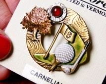 Silver Forest Hand Crafted in Vermont Carnelian Gemstone Golf Themed Brooch, 18 Hole, Golfing Pin, Golfer, Duffer