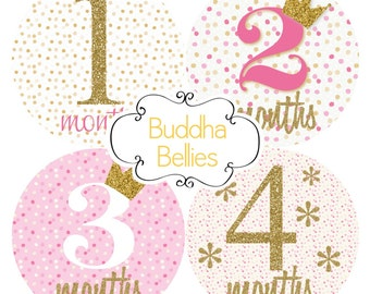 Baby Girl Monthly Stickers Pink and Gold Glitter Confetti Month Baby Stickers - Month to Month Stickers Monthly Baby Decals -