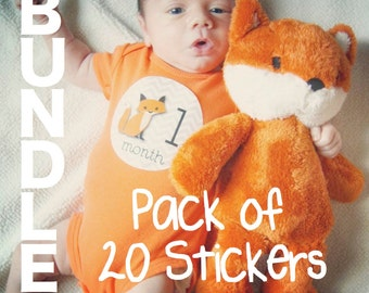 Fox Baby Monthly Stickers BUNDLE PACK of Just Born, Weeks 1-3, Milestone and First Year Baby Month Stickers Fox Nursery Gender Neutral Baby
