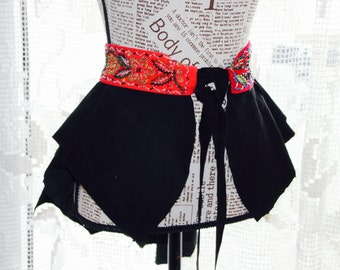 Hand Made Embroidery Belt attached on Black Leather Peplum Fashion Black Leather Over Skirt Bustle Belt Overskirt