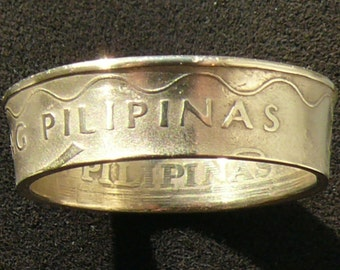 Brass Coin Ring 1997 Philippines 5 Piso, Ring Size 11 and Double Sided