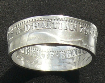 Rare Silver Coin Ring 1882 Haiti 20 Centimes, Ring Size 7 and Double Sided