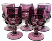 Vintage Indiana glass purple glasses Vintage cocktail glasses  thumb print goblets amethyst  glass  set of 5