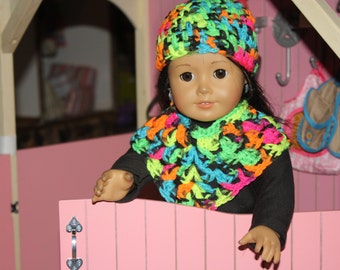 18-inch doll clothes, hat and poncho, American Girl Doll Clothes