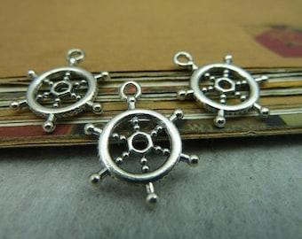 50pcs 17mm antique silver rudder charms pendant C5581