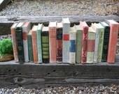 Set of 18 Vintage Books - Antique Book Decor - Photo Props - Wedding Decor - Centerpieces - Soft Tones - Pink, Green, Mint, Pastel Books