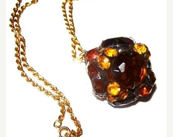 "Disco Ball Pendant Chain Necklace Amber, Citrine, Root Beer Rhinestones Gold Metal Boho 30"" Vintage"