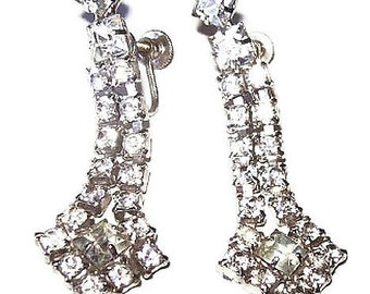 "Rhinestone Dangle Earrings Silver Metal Screw Backs Holiday Wedding 2 1/4"" Vintage"