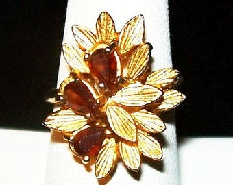 Fall Topaz Flower Ring 18K HGE Ladies Size 6.5 Gold Plated Gift Vintage