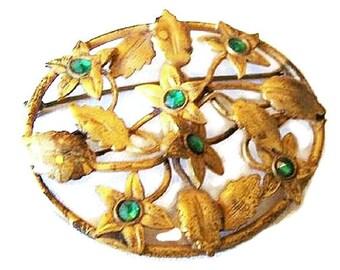 """Art Nouveau Brooch Pin Green Rhinestones Stamped Brass Metal Leaves Flowers 2 1/4"""" Vintage"""