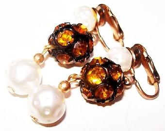"Citrine Dangle Clip On Earrings Rose Montee Rhinestone Balls & Baroque Pearls Gold Metal 1 3/4"" Vintage"