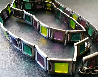 "Stained Glass Purple Green Belt Silver Metal High Fashion Statement 42"" Modern Vintage"