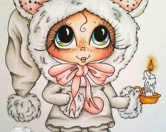 INSTANT DOWNLOAD Digital Digi Stamps Big Eye Big Head Dolls Digi  Img899 Christmas By Sherri Baldy