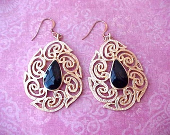 Pretty Vintage Dangling Earrings-Gold Toned Metal with Black Enamel