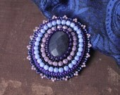 Blue Purple Brooch Cabochon Brooch Bead embroidery Brooch Beadwork Brooch Blue Purple Jewelry Gift for her Spring Fashion