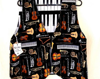 Orchestral Musical Instruments Violin, Keyboard, Clarinet,Trumpet, French Horn, Guitar Piano Keys Reverse 2 XL