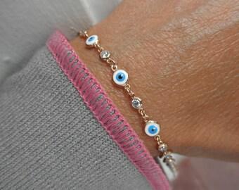 Multi  evil eye bracelet with cz charms- evil eye bracelet - protection bracelet - rose gold - gold - silver