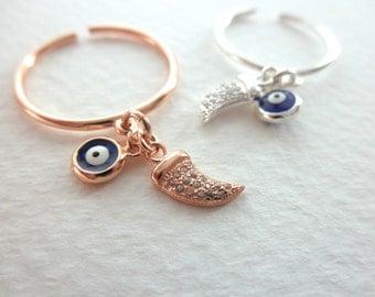 Horn evil eye dangle ring - cz horn ring - tiny charm dangle ring - adjustable evil eye ring - rose gold vermeil ring - silver dangle ring