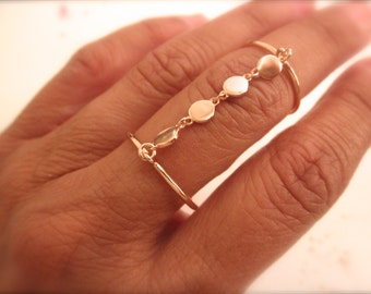 Disc chain double ring  - rose gold vermeil - adjustable double ring  - disc charms double ring -  rose gold disc double ring