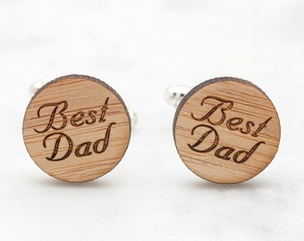 Father's Day Gift - Best Dad Wood Cufflinks - Best Gift for Dad - Cool and Unique Gifts for Dad - Engraved Gifts for Dad  - Keepsake Gift
