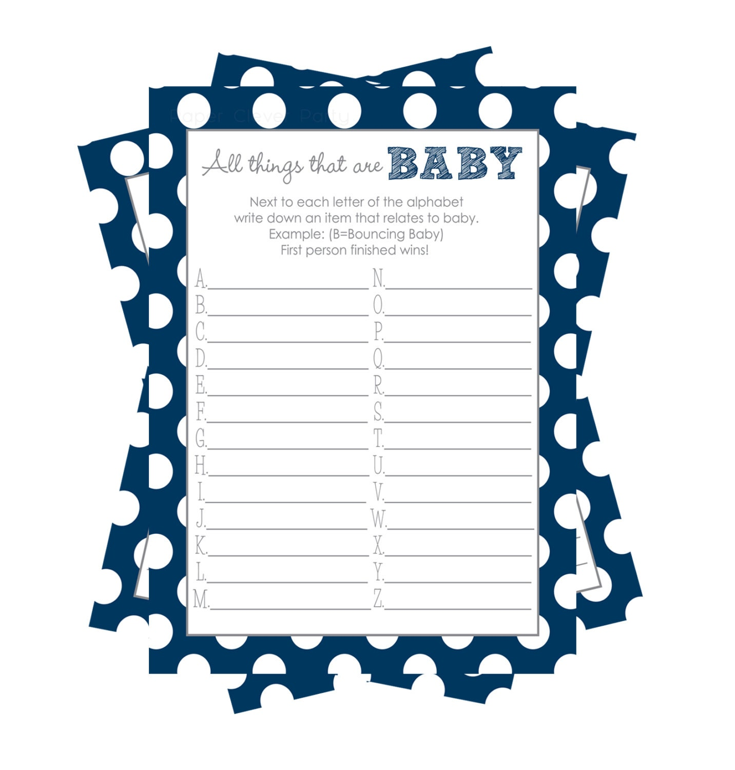 all things baby shower game abc baby shower by papercleverparty