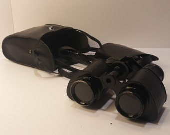 Vintage TROJAN USA Binoculars Field Glasses with case - Rustic Patinaed Steampunk Dieselpunk Look - Post War 1950s