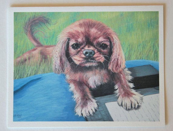 Dog art, King Charles Spaniel, Fine Art Greeting Card, Blank Greeting Cards, photo greeting cards, blank note cards