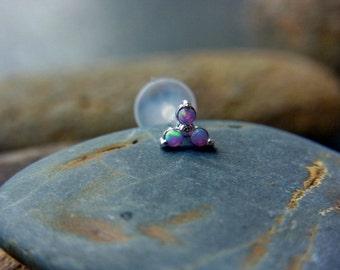 Trinity Purple opal push in 16gauge bio flexible Tragus / lip labret / cartilage/ helix / Monroe