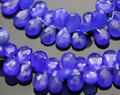 Deep Blue Chalcedony Faceted Pear Briolettes, 11 - 12 mm, 6 beads GM0706FP/12/6