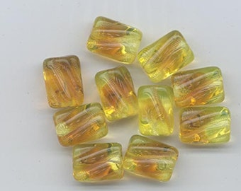 Nine lovely vintage Czech pressed glass beads - jonquil with topaz clouds - 12 x 8.5 mm twisted tubes
