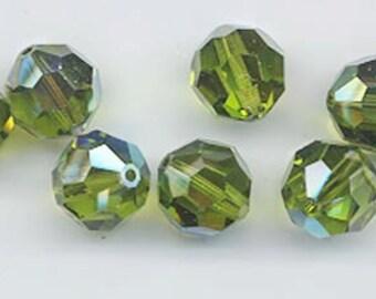 Twelve Swarovski crystals - Art. 5000 - 10 mm - olivine AB