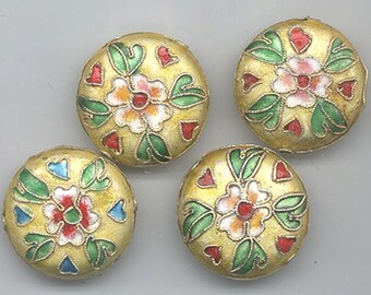 Four cloisonne beads - white gold background with flower and leaves - 24 mm flattened rounds