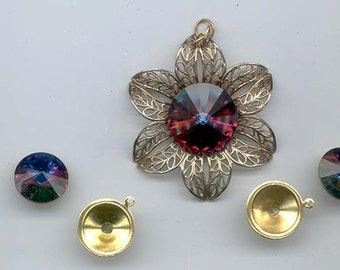 Components for a pendant and matching earrings showcasing vintage Swarovski volcano rivoli crystal stones