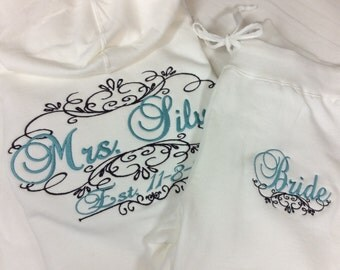 Personalized Embroidered Bride Tracksuit Hoodie and pants  - Crown design on both jacket and pants! Bridal Party Tracksuit 2pcs. Personalize