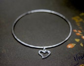 Silver Heart Charm Bangle - Solid Sterling 925 Open Cut Out Heart Bracelet