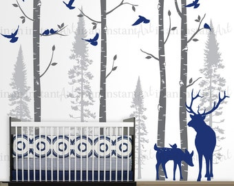 Birch and Fir Forest, Birch Trees Wall Decal, Birch Tree Wall Decal with Birds and Elk for Birch Nursery, Kids or Childrens Room 021