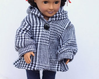 18 inch doll clothes, doll coat, waldorf doll clothes doll jacket flannel winter jacket houndstooth doll coat flannel doll coat doll clothes