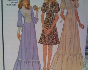 Vintage 1974 McCalls 4381 Prairie Chic Dresses with Funnel Neckline Chevron Drop Waist Ruffled Tiers Sizes 12-14-16