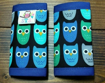 Reversible NEWBORN Car Seat Strap Covers Ann Kelle Woodland Owls with Electric Blue Dimple Dot Minky Baby Boy Girl Accessories ITEM #254