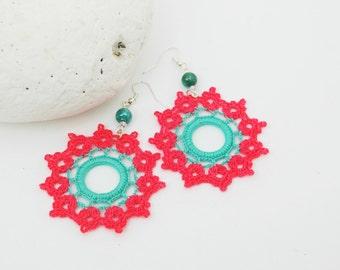 Crochet earrings in pink and turquoise, crochet jewelry, fashion crochet, large earrings, round earrings