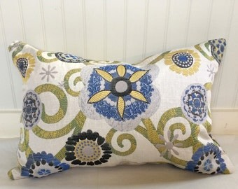 Yellow, Blue, Black, Sage and Beige Floral Pillow Covers/ Custom Drapery in Claridge Fabric